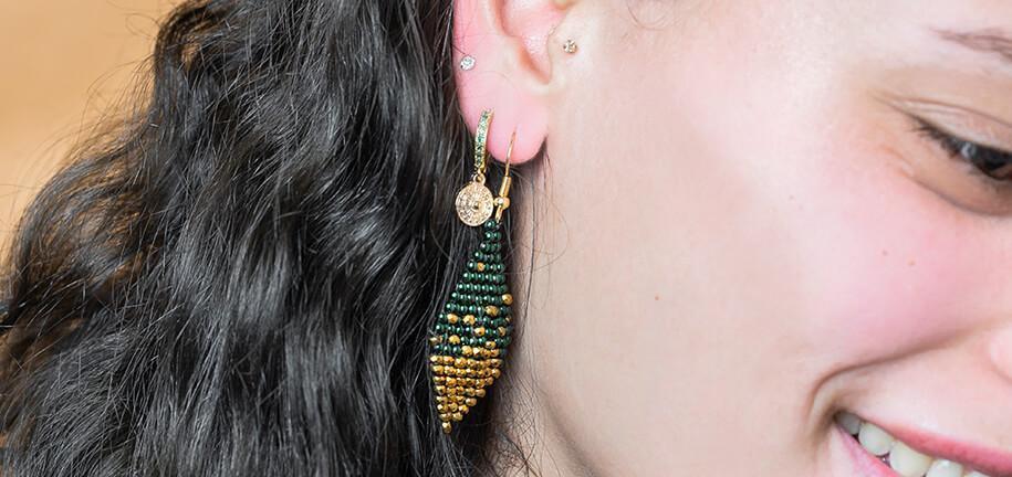 DIY: Boucles d'oreilles losange en perles