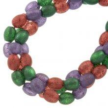 Mélange de Perles en Verre Givrées Glitter (8 x 6 mm) Party Mix (65 pièces)