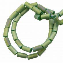 Perles en Verre (5 x 2.5 mm) Galvanized Dark Sea Green AB (95 pièces)