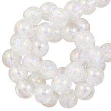 Perles en Verre Crackle (6 mm) Galvanized Crystal AB (70 pièces)