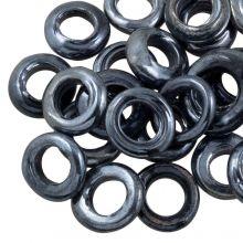Anneaux Fermés en Verre (taille extérieure 14 mm, taille intérieure 8 mm) Antracite (25 pièces)