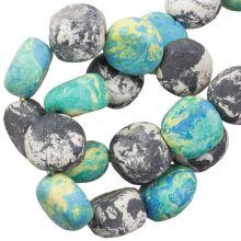 Perles en Céramique (16 x 8 mm) Blue Stone (13 pièces)