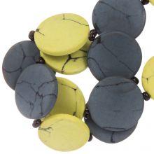 Perles en Céramique (23 x 3.5 mm) Yellow / Grey (8 pièces)