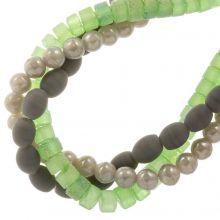 Mélange de Perles en Verre Givrées Glitter (4-8 mm) Forest Mix (98 pièces)