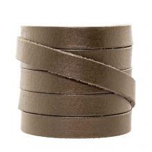 Cuir Plat DQ (10 x 2 mm) Metallic Mocha (1 mètres)