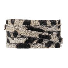 Cuir Plat DQ Safari (5 x 2 mm) Leopard Off White Imprimé (1 mètre)