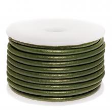 Cuir Métallique DQ (3 mm) Olive Green (5 Mètres)
