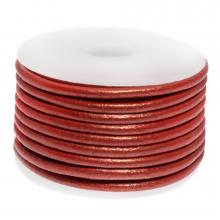 Cuir Métallique DQ (3 mm) Bright Red (5 Mètres)