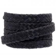 Cuir tressé ovale DQ (10 x 3 mm) Dark Blue (1 mètre)