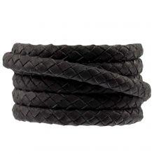 Cuir tressé ovale DQ (6 x 3 mm) Black (1 mètre)