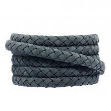 Cuir tressé ovale DQ (6 x 3 mm) Stone Blue Grey (1 mètre)