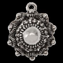 Bouton Zélandais Breloque (22 mm) Argent Antique (2 pièces)
