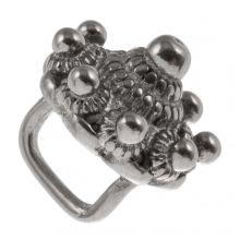 Bouton Zélandais Perles Coulissantes Acier Inoxydable (12 mm / Œillet 7 x 3 mm) Argent Antique (1 pièce)