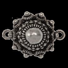 Bouton Zélandais Connecteur 2 Œillets (25 mm / Œillet 2 mm) Argent Antique (2 pièces)