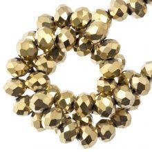 Perles Facettes Rondelle (4 x 6 mm) Frozen Gold (90 pièces)