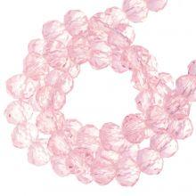 Perles Facettes Rondelle (4 x 6 mm) Bright Pink (90 pièces)
