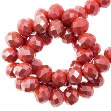 Perles Facettes Rondelle (4 x 6 mm) Coral Red (90 pièces)