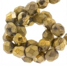 Perles Facettes Fire-Polished DQ (Amber Gold) 6 mm (25 pièces)