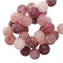 Perles Quartz Fraise (8 mm) 50 pièces