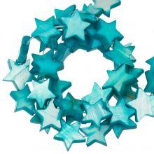 Perles Coquillage Étoile (11 mm) Aqua Blue (38 pièces)
