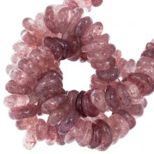 Perles Quartz Fraise (11 - 17 x 9 - 11 x 2 - 4 mm) 120 pièces