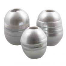 Perles d'Eau Douce (8 - 12 mm) Silver (5 pièces)