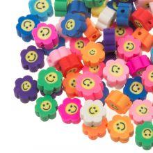 Mélange de Perles en Polymère Fleur avec Smiley (10 x 4.5 mm) Mix Color (50 pièces)