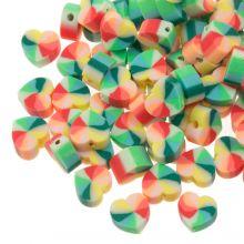 Mélange de Perles en Polymère Petit Coeur (10 x 5 mm) Mix Color Green/ Red (30 pièces)