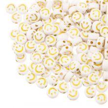 Perles en Acrylique Smiley (7 x 3.5 mm) White / Gold (50 pièces)