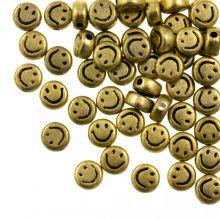 Perles en Acrylique Smiley (7 x 3.5 mm) Gold (50 pièces)