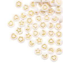 Mélange de Perles en Acrylique (7 x 3.5 mm) White / Gold (50 pièces)