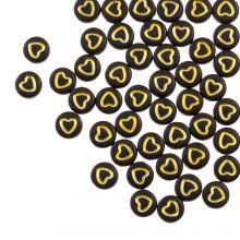 Perles Alphabet Coeur en Acrylique Mélange (7 x 4 mm) Black / Gold (50 pièces)