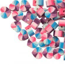 Mélange de Perles en Polymère Petit Coeur (10 x 5 mm) Mix Color Blue / Pink (50 pièces)