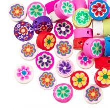 Mélange de Perles en Polymère Fleur (10 x 4.5 mm) Mix Color (50 pièces)