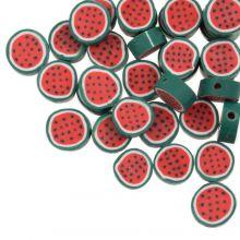Perles en Polymère Pastèque (10 x 4.5 mm) Red / Green (50 pièces)