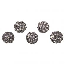Perles Shamballa (6 mm) Black Diamond (5 pièces)
