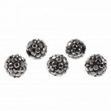 Perles Shamballa (10 mm) Antracite (5 pièces)