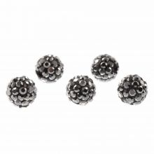 Perles Shamballa (8 mm) Antracite (5 pièces)