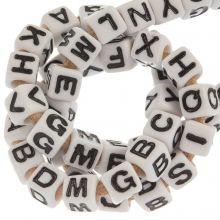Perles Alphabet En Acrylique Mélange (7 x 7 mm) White (50 pièces)