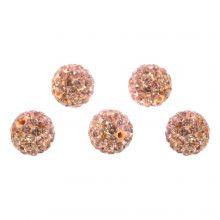 Perles Shamballa (10 mm) Salmon Peach (5 pièces)