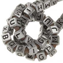 Perles Alphabet en Acrylique Mélange (6 x 6 mm) Silver (100 pièces)