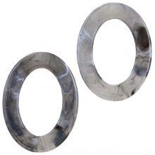 Anneaux Acryliques (37 x 28 x 3.5 mm) Grey (25 pièces)