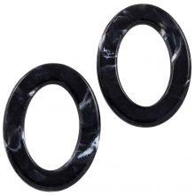 Anneaux Acryliques (37 x 28 x 3.5 mm) Black (25 pièces)