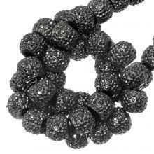 Perles Acryliques Avec Strass (4 mm) Metallic Dark Grey (45 pièces)