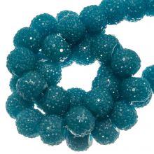 Perles Acryliques Avec Strass (4 mm) Petrol (45 pièces)