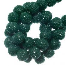 Perles Acryliques Avec Strass (6 mm) Teal (30 pièces)
