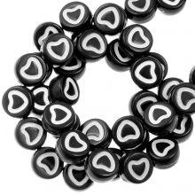 Perles Alphabet Coeur en Acrylique Mélange (7 x 4 mm) White / Black (350 pièces)
