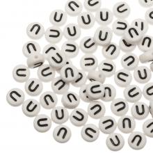 Perles Alphabet En Acrylique U (7 x 4 mm) White (25 pièces)