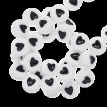 Perles Alphabet Coeur en Acrylique Mélange (7 x 4 mm) White (350 pièces)