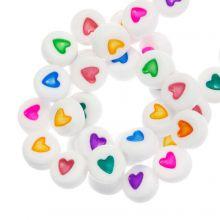 Perles Alphabet Coeur en Acrylique Mélange (7 x 4 mm) Mix Color (350 pièces)